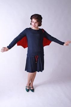 Vintage 1920s Dress  Amazing Blue and Red Flapper Dress by FabGabs, $450.00