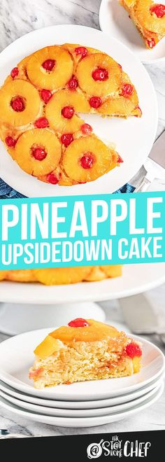 Pineapple Upside Down Cake is a classic American classic recipe, and has the most perfect light, but moist crumb, and is filled with delicious pineapple flavor. Hold onto your hats, this is seriously amazing! Pineapple Upside Cake, Pineapple Desserts, Just Desserts, Delicious Desserts, Yummy Food, Chef Recipes, Baking Recipes, Sweet Recipes, Pie Dessert