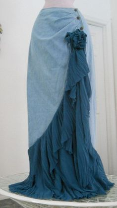 Cascade Bleue waterfall jean skirt teal silk cascading ruffle Renaissance Denim Couture turquoise blue bohemian sea goddess mermaid. $150.00, via Etsy.