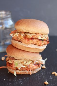 Thai salmon burger. I'm always looking for good and easy salmon recipes so this looks fun to try.