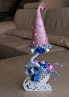 árvore decorativa árvores Topiary do Natal de DIY pequenas brancas de vidro trenó ornamentos bola-de-rosa