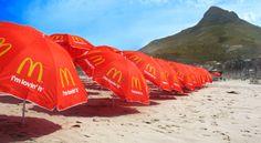 Beach Media - Branded McDonalds umbrellas along various beaches in South Africa. #BeachMedia #McDonalds #umbrellas #SouthAfrica