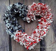 #papercraft #Patriotic Fabric Heart Wreath