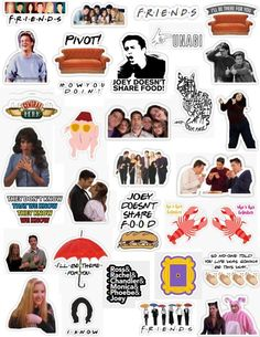 The tv show friends sticker pack stickers Monica Chandler Phoebe Ross Rachel Joey friends references Janice they don't know that we know smelly cat unagi couch central perk his lobster how you doing friends letter style joey doesn't share foo Stickers Cool, Meme Stickers, Tumblr Stickers, Phone Stickers, Printable Stickers, The Office Stickers, Macbook Stickers, Planner Stickers, Ross Y Rachel