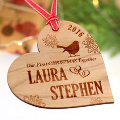 Wooden Couples first Christmas with a cut little robin Personalised Christmas Baubles, Christmas Tree Baubles, Wooden Christmas Trees, Wooden Decor, Minnie, Family Christmas, Holiday Decor, Laser Cutting, Robin
