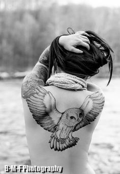 This is awesome.. however I am too chicken to do anything this big..   #owls #tattoos