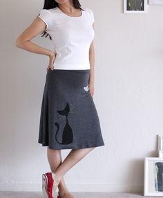 Handmade kitty skirt  Charcoal Grey Knee Length Skirt  by ZoeChen, $54.00