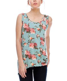 This Aqua Floral Sharkbite Sidetail Tank by Saint Paradise is perfect! #zulilyfinds