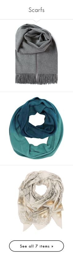 """""""Scarfs"""" by ttkro ❤ liked on Polyvore featuring accessories, scarves, dark gray, grey shawl, wool scarves, wool shawl, grey scarves, woolen scarves, aqua blue and blue shawl"""
