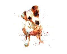 WATERCOLOR Jack Russell Print 8x10 puppy art by eastwitching #jack #Russell #terrier #jrt #dog #puppy #cute #canine #pooch #watercolour #watercolour #dog #lover #pet #portrait