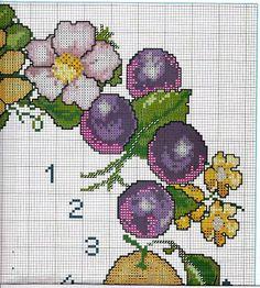 Ricami, lavori e schemi a puntocroce gratuiti: Schemi  punto croce orologi da parete con rose,girasoli e frutta / owocowy zegar 3/6