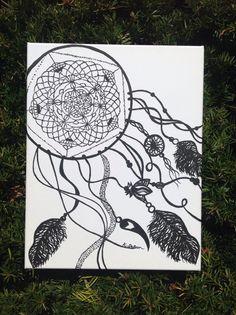Black and White Dream Catcher Painting  by kathpatrisha on Etsy, $33.50