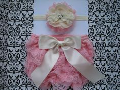 Baby Girls Petti Lace Bloomer Diaper Cover headband set, Pink Lace Diaper Cover, 0-6 months Diaper Cover, great for Baby Shower Gift. $16.00, via Etsy.