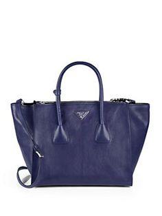 ebb73162ab4c Prada - Glace Calf Twin Pocket Tote Prada Messenger Bag, Prada Tote Bag,  Crossbody