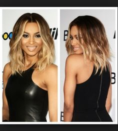 Love this ombré and lob but no blonde in the front bang area