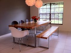 Farmhouse table, with bench and chairs