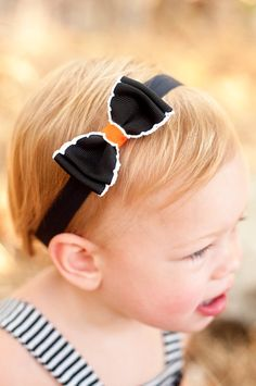 Baby Bow Halloween Moonstitch Bow Tie Bow Black by KinleyKate