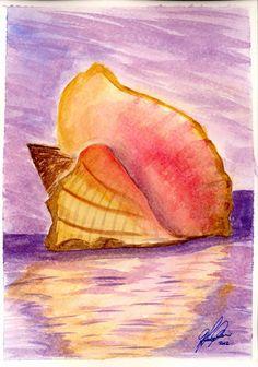 Shell on the beach Original hand painted watercolor by ArteGC, Ocean Crafts, Sand Dollars, Ocean Art, Summer Art, Oceans, Starfish, Beaches, Watercolour, Shells