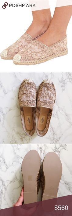 Valentino Lace Espadrilles (sz 40) I love these espadrilles SO much and I hate to sell them but they're a little small on me! I'm a larger 9/9.5 and these would fit a smaller 9/8.5. They are brand new, only tried on. Comes with the box and dust bag. 100% authentic! They are a blush and metallic gold lace with leather trim, not as bright as in the stock photo so they're a perfect neutral shoe for summer. Make me an offer! Valentino Shoes Espadrilles