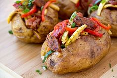 Grilled Vegetables and Sausage Baked Potato-Perfect Baked Potato Recipes (dinner tonight! Perfect Baked Potato, Sweet Potato, Stuffed Baked Potatoes, Cooking Recipes, Healthy Recipes, Vegetarian Cooking, Cooking Ideas, Free Recipes, Healthy Food