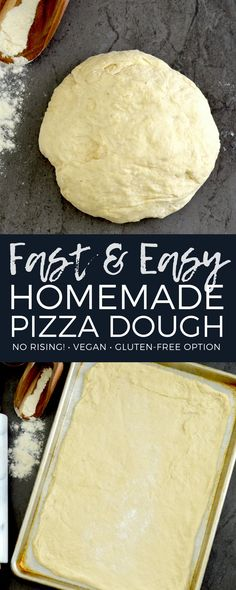 This Easy Homemade Pizza Dough recipe yields the best ever homemade pizza in 30 minutes FLAT! Its made with only 5 ingredients and does not require any rising! Plus it is vegan with a gluten-free option! via joyfoodsunshine Pizza Recipes, Gluten Free Recipes, Cooking Recipes, Cheap Recipes, Skillet Recipes, Cooking Gadgets, Recipes Dinner, Vegetarian Recipes, Pizza Hut