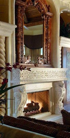 ~Grand Mansions, Castles, Dream Homes & Luxury Homes ~Wealth… Fireplace Mirror, Cozy Fireplace, Fireplace Surrounds, Fireplace Design, Fireplace Mantles, Custom Fireplace, Tuscan Design, Tuscan Style, Elegant Home Decor