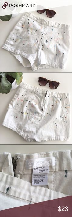 UO Watercolor High Rise Shorts Super cute paint splatter high rise white shorts from Urban Outfitters brand Cooperative. Perfect for spring days! Waist: 13.5in, zipper rise: 10.5in. Gently worn, great condition! Urban Outfitters Shorts