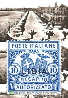 1928 stamp of Italy with overprint LIBIA. Background: old postcard with Lungomare Volpi and Grand Hotel in Tripoli.
