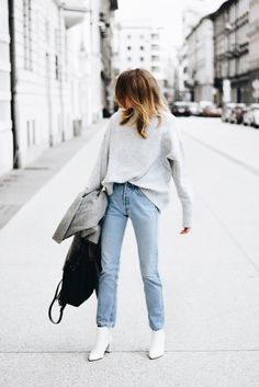 Oversized Gray Sweater | High-Waisted Mom Jeans | White Booties | Gray Blazer Coat | Black Bag | Winter Outfit Ideas