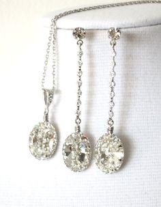 Swarovski Oval Crystal Earrings, Cubic Zirconia Earrings, Silver, Gold, Bridesmaid Earrings, Bridal Jewelry, Wedding Jewelry, by GlitzAndLove, www.glitzandlove.com