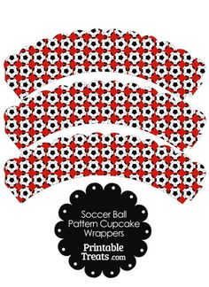 Red Soccer Ball Pattern Scalloped Cupcake Wrappers from PrintableTreats.com