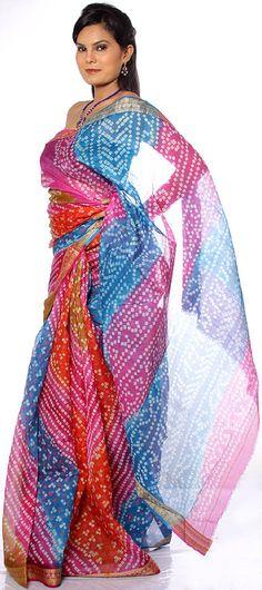 multicolor   Multi-Color Bandhani Silk Sari from Rajasthan