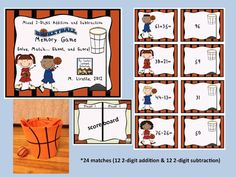 Basketball Memory Match- solve, match, shoot, and score!  2-digit mixed addition and subtraction (no regrouping)