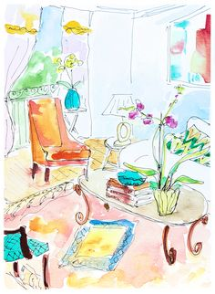 Watercolour ink pen painting living room. Orchid painting drawing. Orange couch in room. Home decor original art. Cheerful wall painting