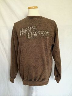 Harley-Davidson Motorcycles mens sweater brown crew neck long sleeves large