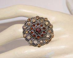 "Ring met glinstersteentjes "" Briljant GOUD BRUIN "" - one size - Ring with glittering stones "" Brillant BROWN GOLD """