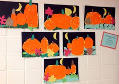 Kindergarten Pumpkin Patch     This seasonal project was a great way to incorporate the fall season into Art class. First, the students dre...