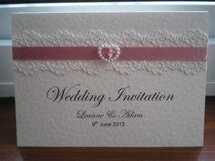 C0001 Pure Innocence Dusky Pink Pearl Heart Wedding Invitation, Vintage Lace Wedding Cards