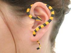 Striped yellow and black Banded Krait snake ear cuff, Fake snake gauge,snake earring