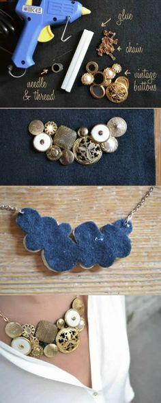 Halskette aus alten Knöpfen - mit Anleitung