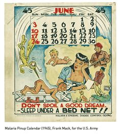 Malaria Pinup Calendar (1945), Frank Mack, for the US Army
