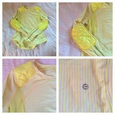Lululemon Yellow And White Long Sleeve Shirt Lululemon Yellow And White Long Sleeve Shirt. Size 4. Worn a handful of times, perfect condition. Goose down padding on elbows and shoulders. lululemon athletica Tops