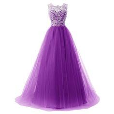 Long Evening Dress Fashion Sleeveless High Waist Three Layers Gauze... ($32) ❤ liked on Polyvore featuring dresses, purple lace dress, layered prom dress, sleeveless dress, purple dresses and purple sleeveless dress