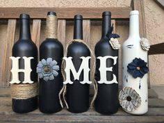 Decorated wine bottles. Wine bottle Home by WineCraftCreations