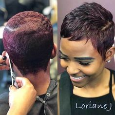 Short Pixie Haircuts for Pretty Look. Pixie hairstyles are the most popular options women try.Pixie hair is suitable for both young and old ladies. Short Black Hairstyles, Short Pixie Haircuts, Pixie Hairstyles, Black Pixie Haircut, Trendy Hairstyles, Short African American Hairstyles, Drawing Hairstyles, Hairstyles Videos, Hairstyles Pictures
