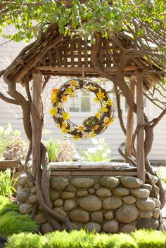 wishing well. this sparks an idea.maybe build a flower filled wishing well where the old pecan tree stump is? Outdoor Projects, Garden Projects, Outdoor Decor, Gazebos, Garden Structures, Mellow Yellow, Dream Garden, Yard Art, Daffodils