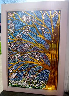 Cherry Blossom Tree Stained Glass Mosaic Window