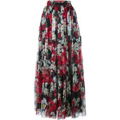 DOLCE & GABBANA Floral Print Silk Skirt (2,540 CAD) ❤ liked on Polyvore featuring skirts, high waisted pleated skirt, pleated a line skirt, high waisted skirts, long floral skirts and a line skirt