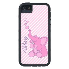 Named cute pink elephant iphone 5 case. Art and design by www.sarahtrett.com