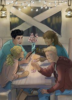 Percy Jackson, Annabeth Chase, JAson Grace, Piper McLean. heroes of Olympus